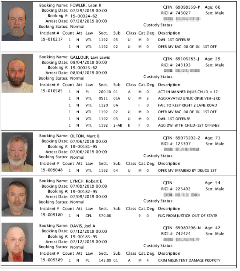 Recent Arrests | Washington County, NY - Official Website