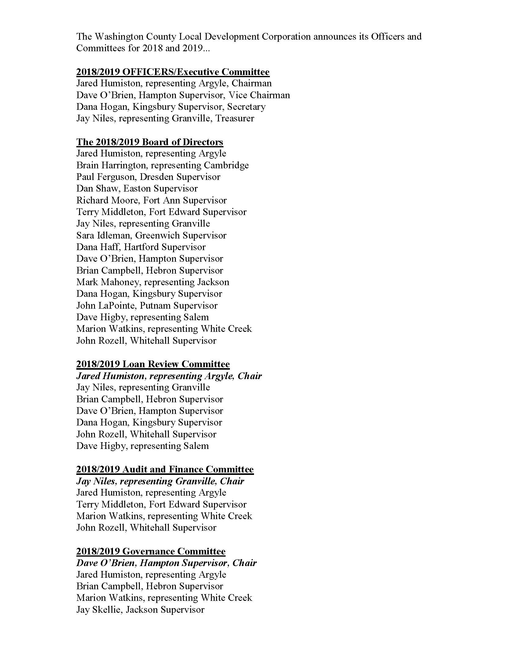 2018-2019 LDC Officers and Committees
