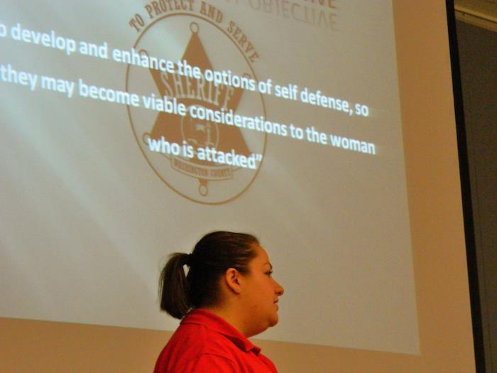 Investigator Kristen Hardy instructs a R.A.D. course in Whitehall, NY